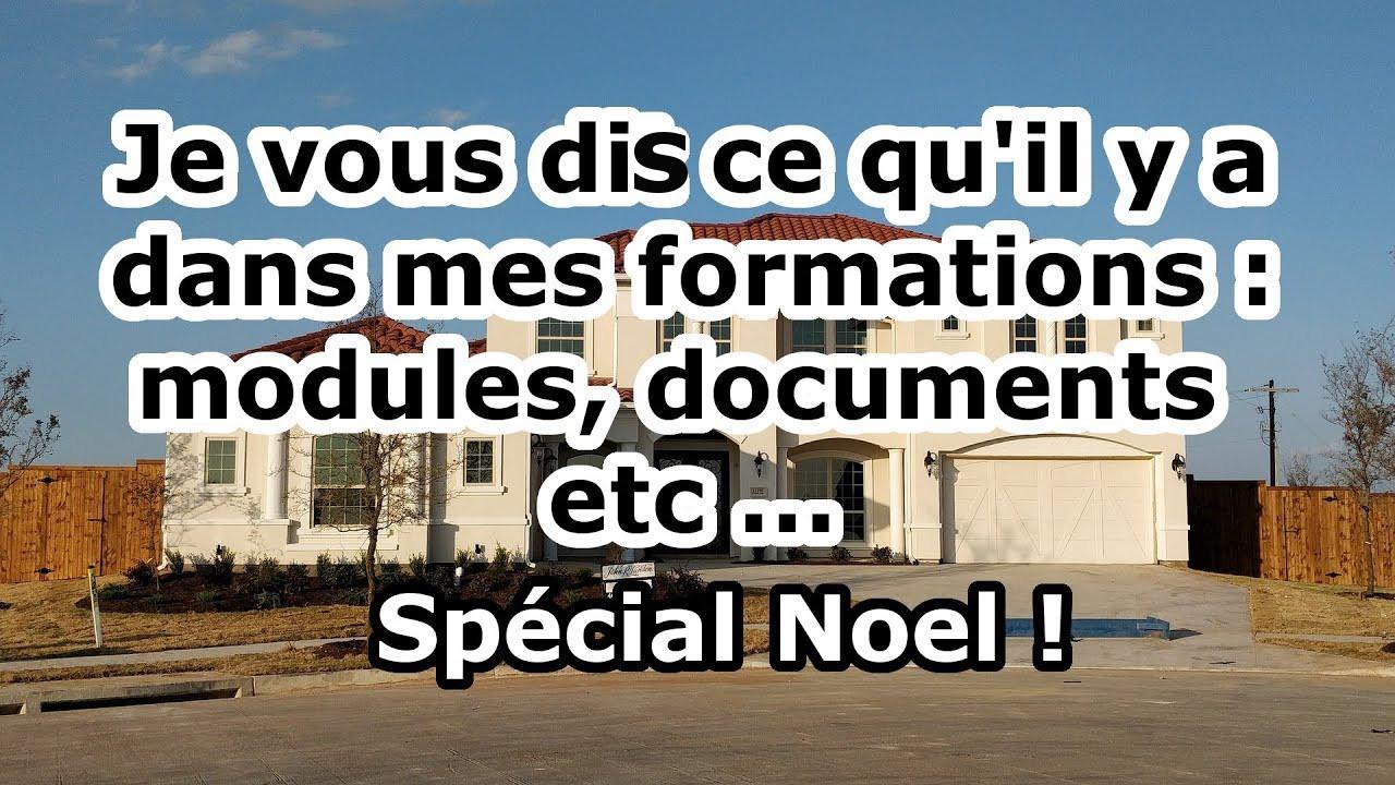Je vous dis ce qu'il y a dans mes formations : modules, documents, divisions etc …