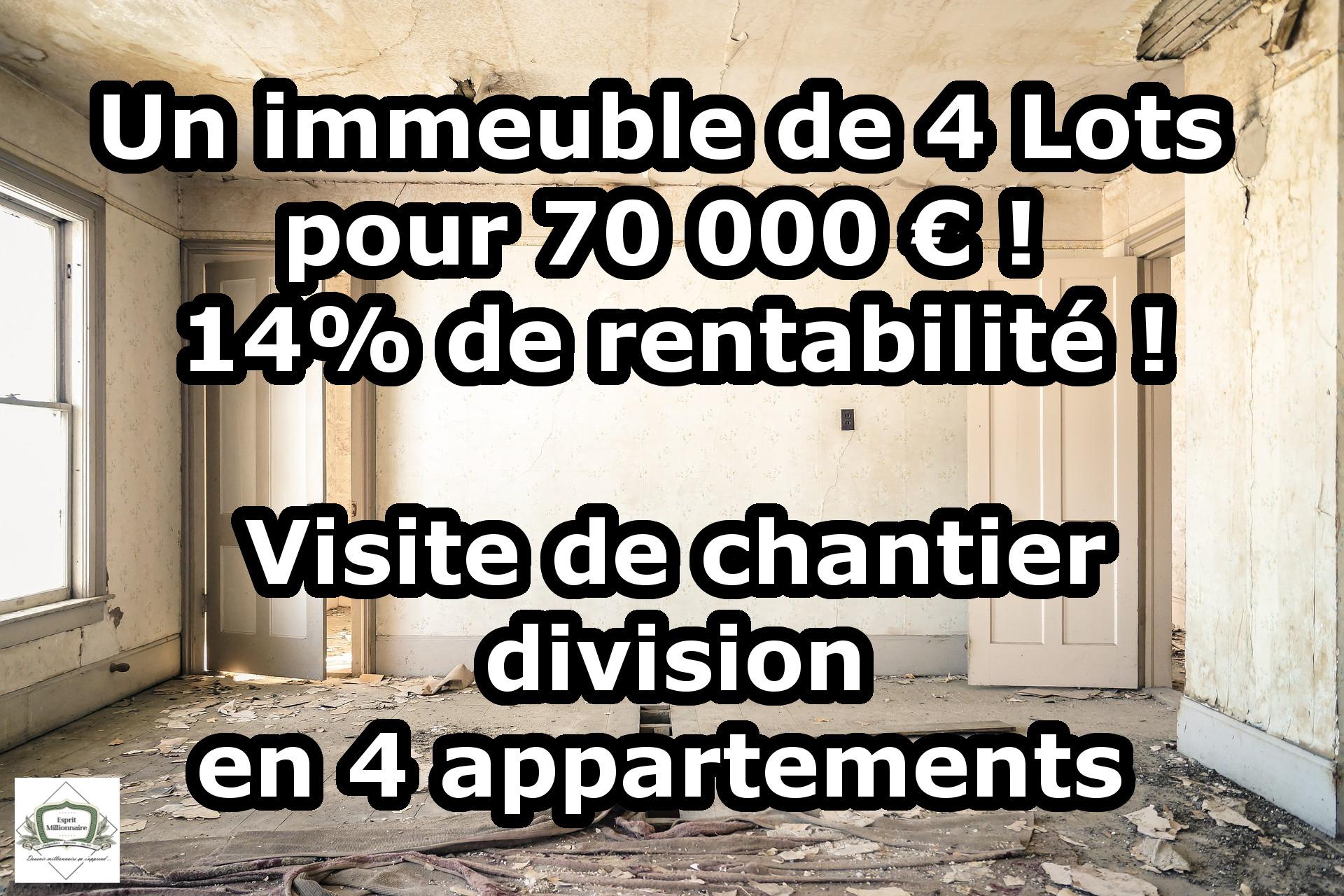 Un immeuble de 4 Lots pour 70 000 € ! 14% de rentabilité ! VISITE DE CHANTIER